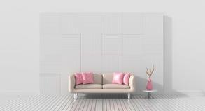 Le salon est fourni avec la couleur du ` s de meubles de l'amour pour le Saint Valentin Photographie stock libre de droits