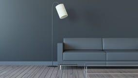 Le salon moderne avec le ton noir 3d rendent l'image Photo libre de droits