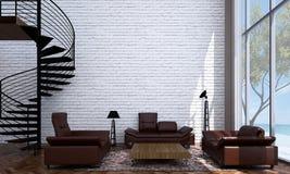 Le salon moderne et la conception intérieure et le mur de briques de salon donnent à la vue une consistance rugueuse de fond et d illustration stock