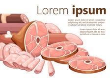 Le salsiccie della raccolta del prodotto a base di carne hanno fumato il prosciutto della carne ed ed hanno affettato l'illustraz illustrazione di stock