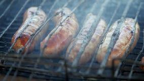 Le salsiccie sono arrostite sul fuoco stock footage