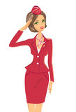 Le salutera kvinnan i röd likformig vektor illustrationer