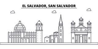 Le Salvador, bâtiments d'horizon d'architecture de San Salvador, silhouette, paysage d'ensemble, points de repère Courses Editabl Photos stock