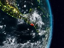 Le Salvador de l'espace la nuit photographie stock