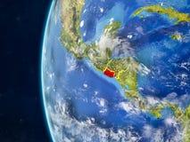 Le Salvador sur le globe de l'espace illustration stock