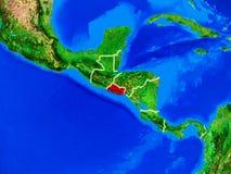 Le Salvador sur terre avec des frontières photos stock