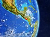 Le Salvador sur terre de planète de planète avec des frontières de pays Surface et nuages extrêmement détaillés de planète illust illustration de vecteur