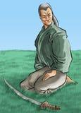 Le samouraï et son katana illustration libre de droits
