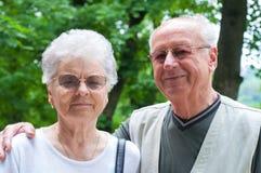 le samtal för parparkpensionär Arkivbild