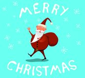 Le Santa Waving Wishing Merry Christmas stock illustrationer
