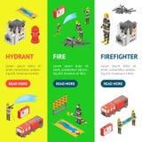 Le sapeur-pompier et le bâtiment sur la bannière Vecrtical de concept du feu ont placé la vue 3d isométrique Vecteur illustration stock