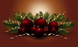 Le sapin rouge de boules de Noël s'embranche illustration de vecteur de nouvelle année illustration libre de droits