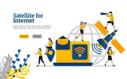 Le satellite pour des choses de l'Internet et du journal et le concept numérique d'illustration de vecteur des besoins d'affaires illustration libre de droits