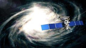 Le satellite réaliste vole après la galaxie illustration libre de droits