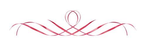 Le satin rose a ondulé des rubans dans une ligne disposition illustration libre de droits