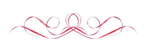 Le satin rose a ondulé des rubans dans une ligne disposition illustration stock