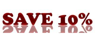 Le satin rouge épargnent 10 pour cent photographie stock