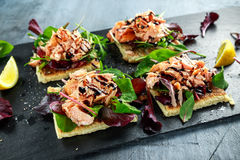 Le saumon fumé s'écaille sur le lit de salade et la pomme de terre irlandaise amincit des casse-croûte, apéritifs Photo stock
