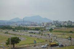 Le scénique sur le chemin à la station de MRT d'aéroport de Taoyuan Photo stock