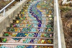Le scala del mosaico, San Francisco in scala di StepsMosaic piastrellate sedicesimo viale, San Francisco in sedicesimo viale hann fotografia stock libera da diritti