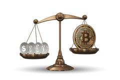 Le scale con i bitcoins ed altre valute - rappresentazione 3d Fotografie Stock Libere da Diritti