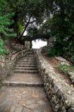 Le scale di pietra in collina del castello parcheggiano in Nizza, Francia Immagini Stock