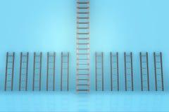 Le scale differenti nel concetto di progressione di carriera Immagini Stock