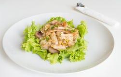 Le scalpore hanno fritto il pollo e l'uovo freschi del wigh delle tagliatelle della riso-farina Immagini Stock Libere da Diritti