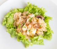 Le scalpore hanno fritto le tagliatelle fresche della riso-farina con il pollo e l'uovo Immagini Stock