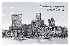 Le scape de ville de croquis dans l'horizon et le bâtiment d'exposition de Londres Angleterre soit Images stock
