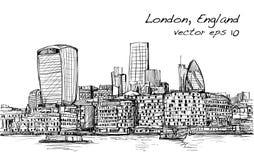 Le scape de ville de croquis dans l'horizon et le bâtiment d'exposition de Londres Angleterre soit Photo libre de droits
