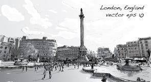 Le scape de ville de croquis dans la boutique de Londres Angleterre monunent, peuples marchent Photos libres de droits