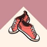 Le scarpe da tennis che vivono le paia rosa nude di corallo delle scarpe hanno isolato Scarpe disegnate a mano dell'illustrazione illustrazione vettoriale
