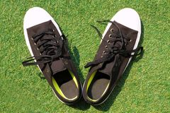 Le scarpe da tennis nere hanno disposto su erba verde fotografia stock libera da diritti