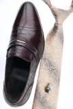 Le scarpe degli uomini, legame, gemelli, stile classico Immagine Stock Libera da Diritti