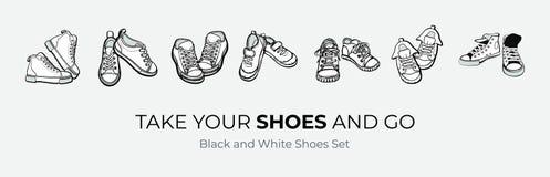 Le scarpe delle scarpe da tennis accoppiano isolato Scarpe in bianco e nero dell'illustrazione disegnata a mano di vettore Stival royalty illustrazione gratis