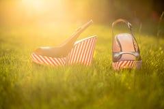 Le scarpe delle donne, sandali in natura, sandali blu Fotografia Stock Libera da Diritti