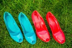 Le scarpe delle donne in una posizione diritta di fila sull'erba Fotografia Stock Libera da Diritti