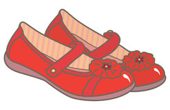 Le scarpe delle ragazze rosse Immagini Stock Libere da Diritti