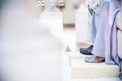 Le scarpe dello sposo e della sposa Fotografia Stock Libera da Diritti