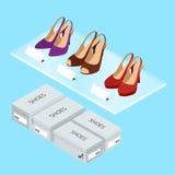 Le scarpe variopinte e le scatole della donna Le scarpe delle donne con i talloni Illustrazione isometrica di vettore per il info Fotografie Stock Libere da Diritti