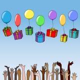 Le scatole con i regali sui palloni cadono nelle mani della gente delle nazionalità differenti royalty illustrazione gratis
