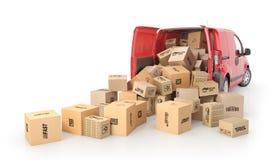 Le scatole di cartone si ritirano dal trasporto isolate su un fondo bianco illustrazione 3D Fotografia Stock