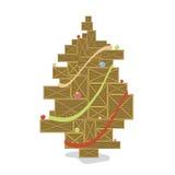 Le scatole di legno hanno stilizzato l'albero di Natale con le palle di colore Fotografia Stock