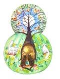 Le schéma huit avec l'image d'un arbre décoratif et des oiseaux illustration stock