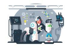 Le scientifique de singe de robot font l'expérience de laboratoire illustration libre de droits