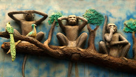 Le scimmie di Mahatma Gandhi Fotografia Stock Libera da Diritti