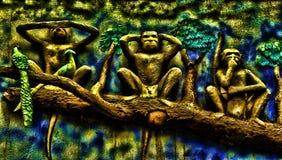 Le scimmie di Mahatma Gandhi Fotografia Stock