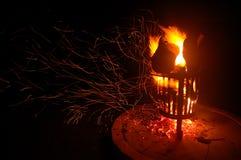 Le scintille arancio volano via un fuoco di ceppo in Africa Fotografie Stock