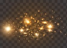 Le scintille della polvere e le stelle dorate splendono con luce speciale Il vettore scintilla su un fondo trasparente Effetto de royalty illustrazione gratis
